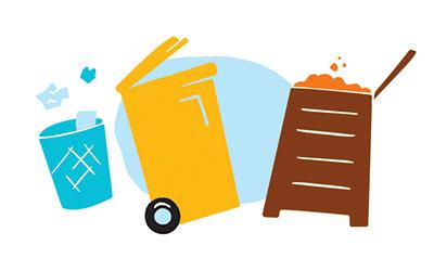 Illustration de 3 poubelles de déchets